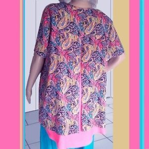 Bright Coral Teal Yellow Paisley Shirt Tail Blouse